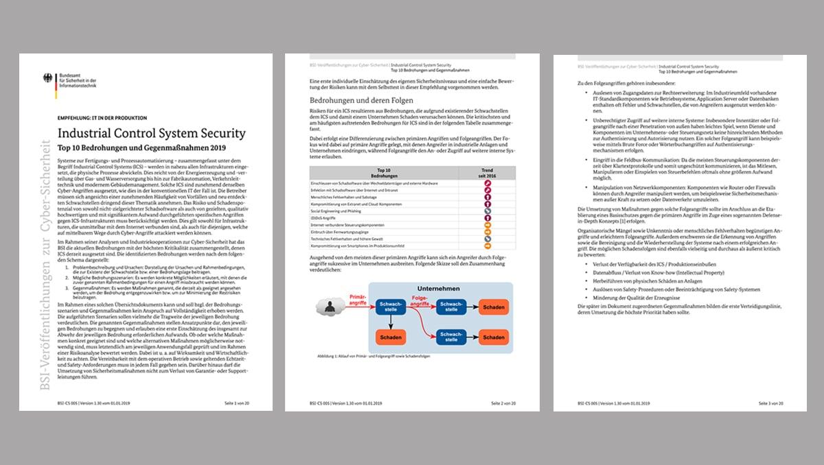 Das BSI-Dokument Top 10 Bedrohungen und Gegenmaßnahmen v1.3 gibt einen guten Überblick zu Industrial Control System Security. Bild: tci GmbH