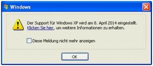 Warnhinweis zum Support-Ende von Windows XP