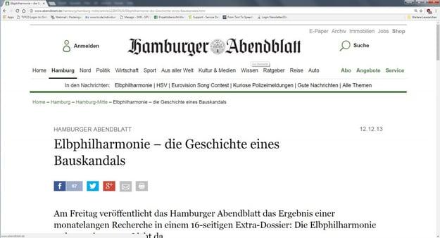 Suche Elbphilharmonie auf der Homepage vom Hamburger Abendblatt