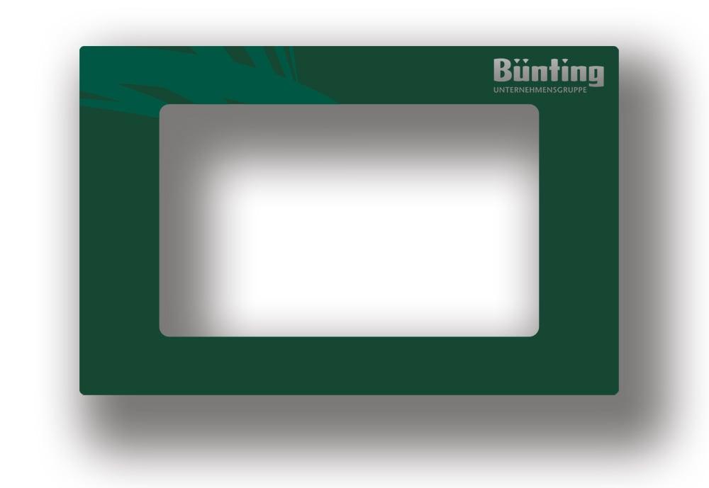 Designlösung von Bünting Unternehmensgruppe auf bedruckter Aluminiumfront