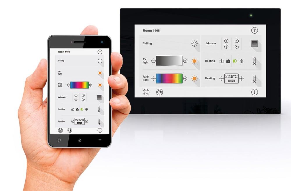KNX Bedienpanel mit integrierter KNX-Visualisierung. Bild: tci ambiento