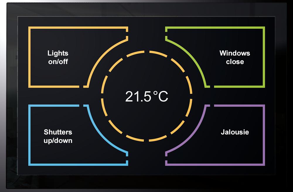 Touchpanel mit Temperaturanzeige und Drehring zum einstellen Bild: tci ambiento