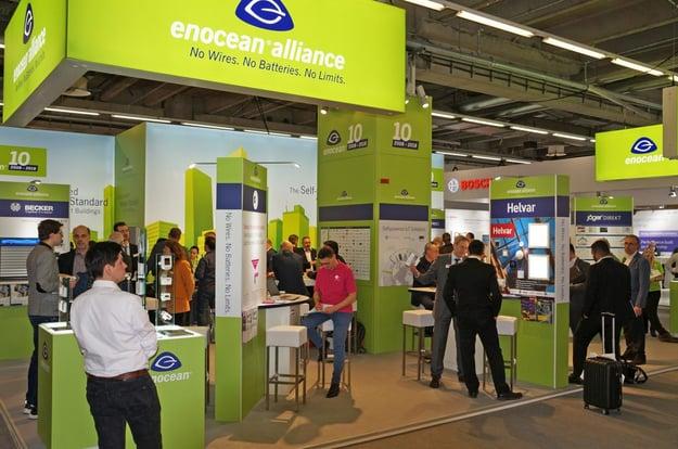 Funklösungen verschiedener Hersteller auf dem Stand von enocean. Bild: tci GmbH
